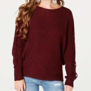 American Rag Juniors' Lace-Up-Sleeve Sweater, L